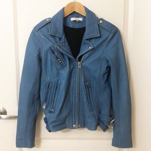 IRO HAN DISTRESSED BLUE 100% GENUINE LEATHER JACKE